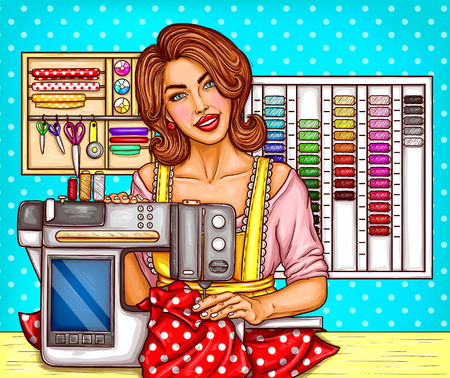 Vector pop art woman tailor sews on a electric modern sewing-machine with display. Designer needlework, dressmaker in atelier, workshop. Seamstress illustration, dotted background.