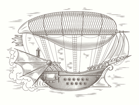 steampunk illustration of a fantastic wooden flying ship in the style of engraving. Print, template, design element Banque d'images - 94539906