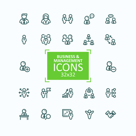 Set of illustrations fine line icons, collection of business people icons, personnel management, agreement, handshake, leader and his team, communication, subordination. 32x32 pixel perfect