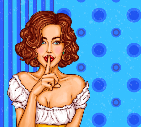 pop art illustration of a sexy girl holding her finger on her lips and asking for silence, quiet, do not tell anyone. Excellent advertising poster for advertising discounts and sales