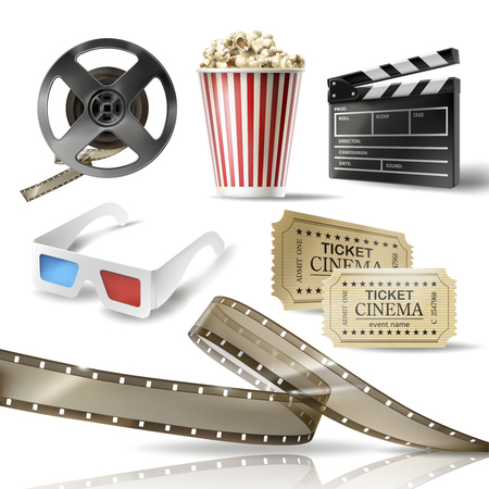 Cinema set of 3D realistic objects cardboard bucket with popcorn, reel, tape, glasses, movie tickets and clapperboard. Vector colorful design elements of film industry isolated on white background Иллюстрация