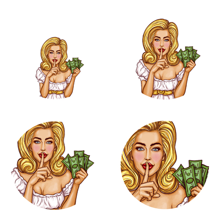 Set vector pop art round avatar icons for users social networking, blogs, profile icons. Sexy girl with money in hand holding her finger on her lips and asking for silence, quiet, do not tell anyone