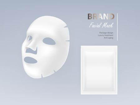 Kosmetische Gesichtsmaske des weißen Blattes des realistischen Vektors lokalisiert auf Hintergrund. Hautpflege, kosmetisches Schönheitsprodukt zur Gesichtsbehandlung, Anti-Aging-, Reinigungs- und Feuchtigkeitskomplex. Modell für die Verpackungsgestaltung Vektorgrafik