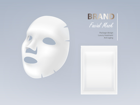 Realistic vector white sheet facial cosmetic mask isolated on background. Skincare, cosmetic beauty product for face treatment, anti-aging, cleansing, moisturising complex. Mockup for package design Ilustração