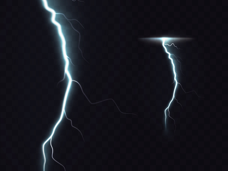 illustration of 3d realistic lightning or thunderbolt isolated on night translucent background. Bright flash of light, high voltage strike, electric discharges, a dangerous natural phenomenon Иллюстрация