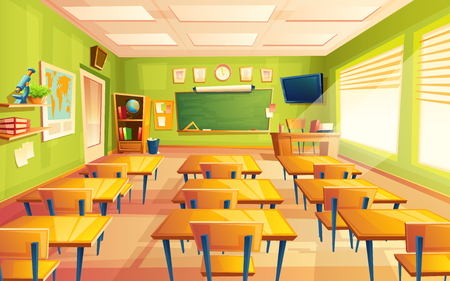 Vector cartoon empty elementary or high school, college, university classroom background. Illustration with room interior indoor objects desk, table, board, chair, tv set. Learning, education backdrop. Illustration