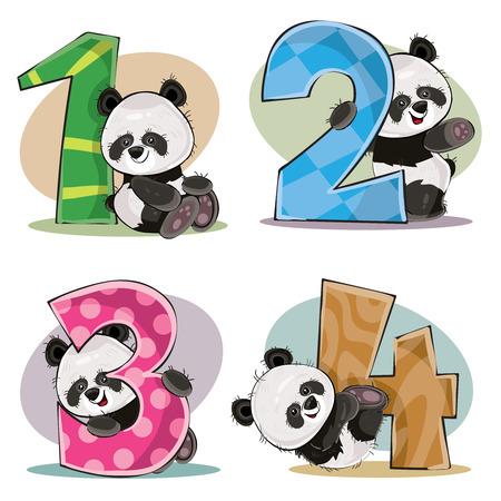 Zestaw słodkich misiów panda z numerami wektor ilustracja kreskówka. Clipart na kartkę z życzeniami na urodziny dla dzieci, zaproszenie na zaproszenie, szablon, nadruk na koszulce. Zabawna matematyka, liczenie, cyfry 1, 2, 3, 4. Ilustracje wektorowe
