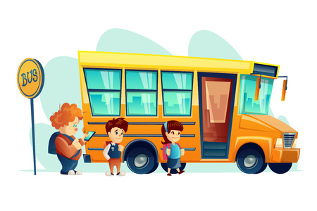 Vector illustration of children get on school bus on the stop sign, isolated.