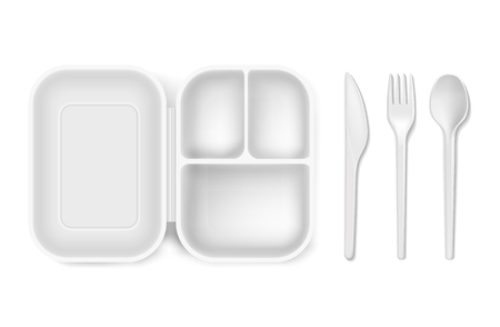 Disposable plastic spoon, fork or knife and lunch-box vector illustration. Ilustrace