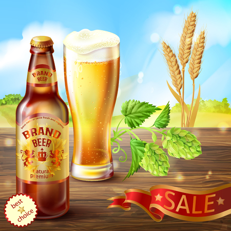 realistic colorful background, promotion banner with brown bottle of craft beer and full glass of frothy alcoholic drink on wooden table with hops and barley.