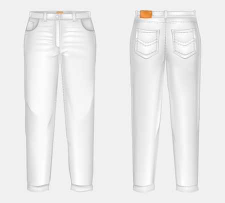 realistic white casual jeans, unisex model, straight and baggy, front and back view, isolated on gray background. Comfortable, denim pants, ironed and clean.