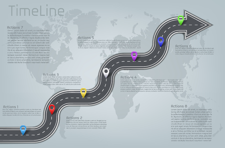 corporate car road curved arrow shape world map milestone, timeline business presentation layout info graphic plan workflow pointer marks, action step. Illustration