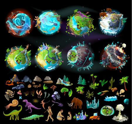 Estágios da evolução da terra, criação de desenhos animados vetor definido com vários ícones coloridos, plantas, animais, rochas, dinossauros. Linha do tempo, a origem da vida e da morte, elementos para infográfico e design de jogos Ilustración de vector