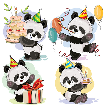 Set cute baby panda bears in cardboard hat, with birthday cake and candle, with gift box, balloons and whistle vector cartoon illustration. Happy birthday clipart for greeting cards, party invitations Illustration