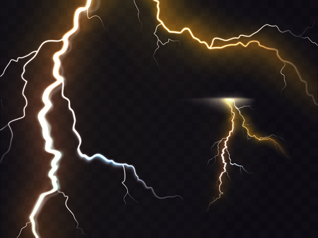 Vector illustration of 3d realistic lightning or thunderbolt isolated on night translucent background. Bright flash of light, high voltage strike, electric discharges, a dangerous natural phenomenon
