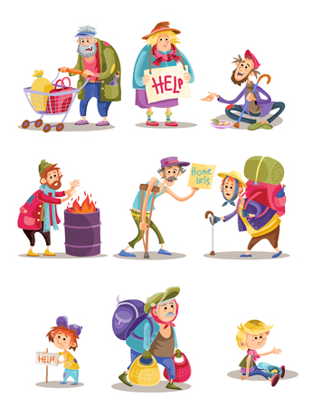 Homeless and beggars people vector cartoon illustration. Bum and homeless vagrant characters of woman and child begging alms, man panhandler in poverty at fire barrel flat isolated icons set Illustration