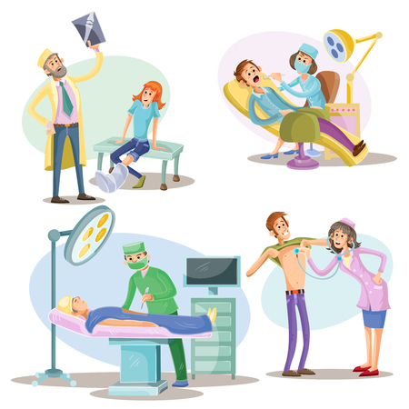 Medical examination and treatment vector illustration of patients and doctors at hospital. Surgery operation and dentistry, traumatologist with X-ray or physician with stethoscope cartoon flat icons Illustration