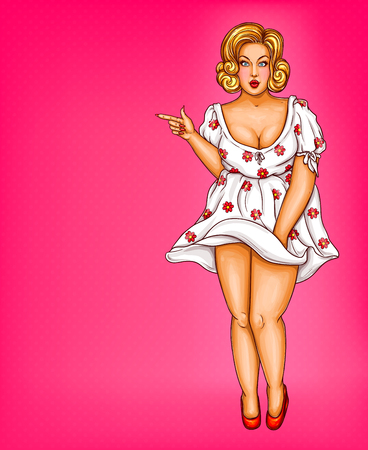 Vector fat, obese blonde pin up woman, pop art xxl, plus size model in white dotted dress pointing a finger at discounts, sale. Fashion illustration. Overweight concept.
