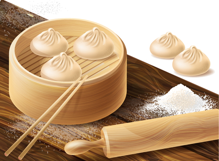 Vector realistic concept illustration with Chinese dumplings or xiao long bao in bamboo steamer, with rolling pin, chopsticks, scattered flour on wooden board. Background with traditional China food