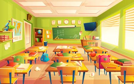 Vector interior del aula. Concepto educativo, sala de matemáticas, pizarra, escritorios, útiles escolares. Ilustración de sala de capacitación para publicidad, web, promoción de internet Ilustración de vector