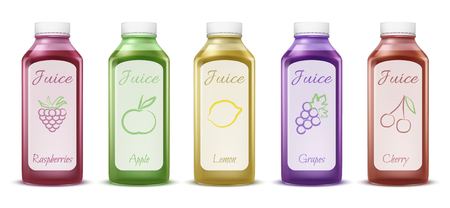 Fruit and berry juice bottles vector illustration of 3D plastic bottles models for fresh juice. Isolated realistic mockups set of apple, lemon or grape and raspberry or cherry berries juice drinks