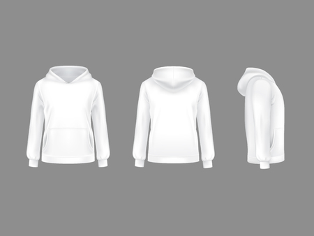 Vector hoodie sweatshirt white 3d realistic mockup template. Fashion long sleeve clothing hooded pullover front side back view. Illustration grey background. Woman man unisex cotton apparel sportswear Vettoriali