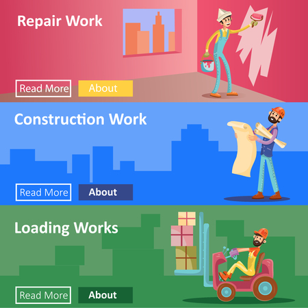House construction and repair work vector illustration web banners. Flat design template of home interior painter man, building project engineer and loading worker for house construction company