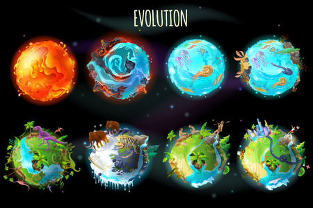 Vector cartoon fantastic planet Earth, world evolution set. Cosmic, space element game, timeline infographic design. Illustration from burning lava, water period, ice Age to green tropical plant river Illustration