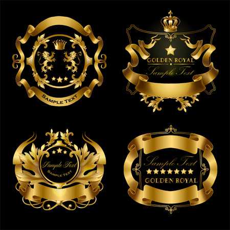 Vector set of golden royal stickers with crowns, ribbons, lions, stars isolated on black background. Luxurious emblems with heraldic ornament, premium quality labels for certificates, brand promotion