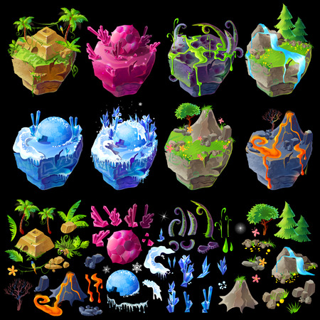 Vector isometric 3d fantastic islands, details for gui, game design. Cartoon illustration of aztec pyramid, winter location, volcanic territory, poisonous lands, waterfall and magic crystals landscape