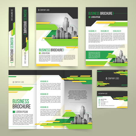 Vector flyer, cover design of the companys annual business report, business card, presentation template with green elements and black white buildings. Advertising brochure, flyer of real estate agency.