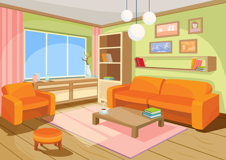 illustration of a cozy cartoon interior of a home room, a living room with a sofa, coffee table, chest of drawers, shelf and window