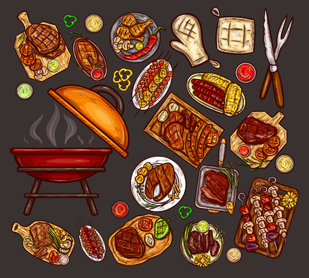 Set of illustrations, elements for barbecue with brazier, BBQ accessories, grilled food, various meat, sausages, vegetables and sauces isolated on gray. Print, template, design element