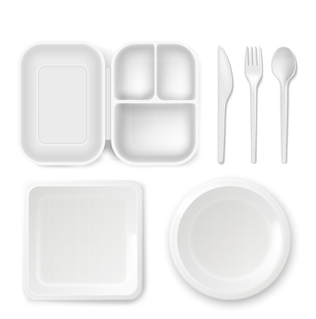 Disposable plastic dishware plates and cutlery vector illustration. 3D realistic lunch box, spoon, fork or knife and food package container.