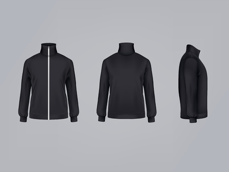 Sport jacket or long sleeve black sweatshirt vector illustration 3D mockup model template front, side and back view. Иллюстрация