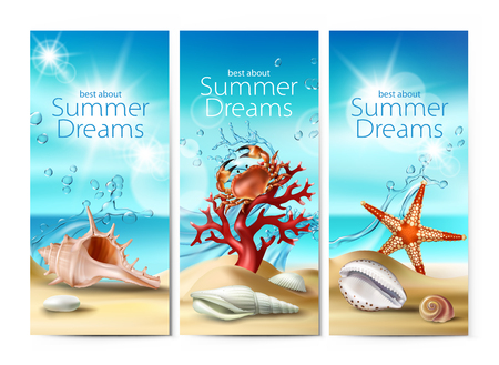 Set of illustrations, banners of a summer sandy beach with seashells, pebbles, starfish, crab and coral against the turquoise sky and the sea. Excellent advertising posters for a travel agency Stock Photo
