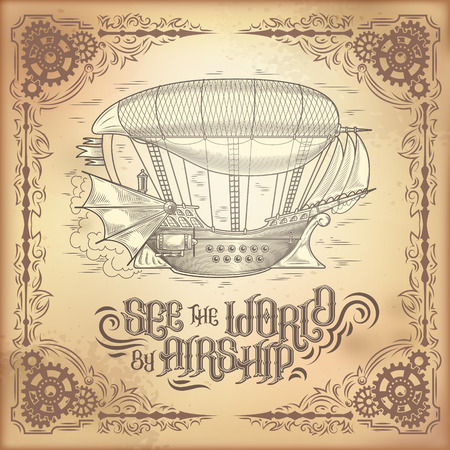 steampunk poster, illustration of a fantastic wooden flying ship in the style of engraving with decorative frame of gears. Template, design element