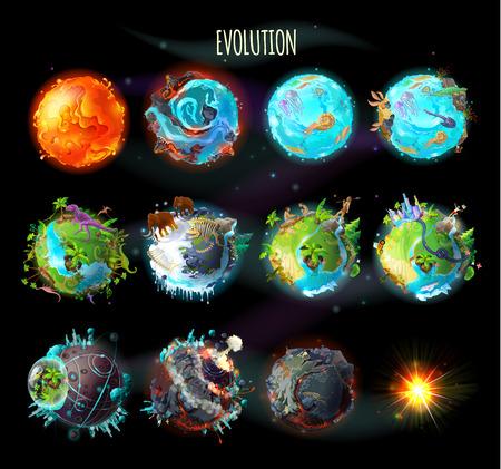 Etapas del origen de la vida en la Tierra, evolución, cambios climáticos, progreso tecnológico, cataclismos, explosión planetaria, muerte del planeta, ilustración del concepto de vector. Cronología, elementos infográficos