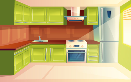Vector modern kitchen interior background template. Cartoon dinner room illustration with furniture - kitchen counter, cupboard, appliances - fridge, cooking stove, oven, range exhaust hood, sink.
