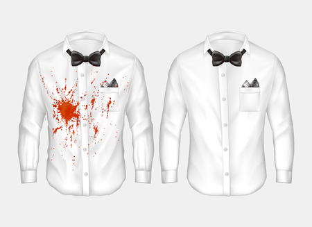 Vector 3d realistic male white shirts with bow-ties, one dirty, crumpled with red stain of wine, blood or ketchup, other clean and ironed. Mockup with clothes before and after washing or dry-cleaning