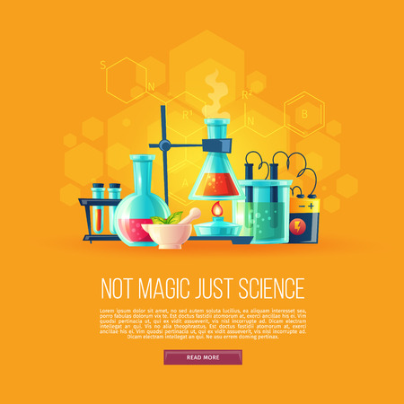 Fondo de dibujos animados de vector con conjunto de equipos químicos para experimentos, viales, matraz de vidrio, tubos de ensayo con sustancia y reactivos. Laboratorio de química escolar, ilustración del concepto educativo Ilustración de vector