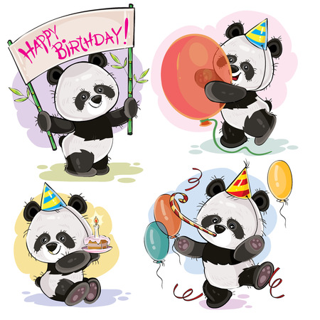 Set vector cute baby panda bears in cardboard hats, with cake and candle, with happy birthday banner, balloons and whistle cartoon illustration. Clipart, print for greeting cards, party invitations