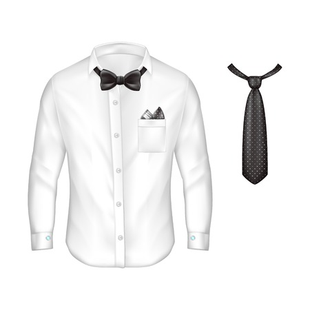Vector 3d realistic white male shirt with long sleeves, buttons and cuff links, bow-tie, handkerchief in pocket, black dotted tie isolated on background.