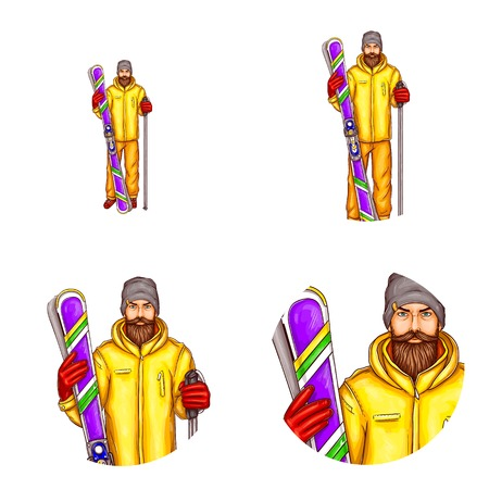 Vector pop art avatar of snowboarder - icon of bearded man in snowboarding suit, glasses, helmet, holding snowboard for blog, chat. Element for advertising of extreme sports equipment, promotion