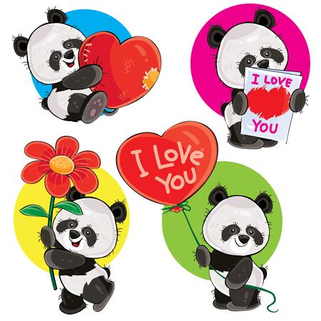 Caricature de vecteur de Saint Valentin sertie d'ours panda mignon, avec un c?ur doux, avec amour, carte de voeux, avec fleur et ballon rouge isolé sur fond. Clipart pour cartes, autocollants, impression pour t-shirt