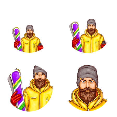 Vector pop art avatar of snowboarder, icon of skier, bearded man in snowboarding suit, holding snowboard for blog, chat. Element for advertising of extreme lifestyle, sports equipment, promotion