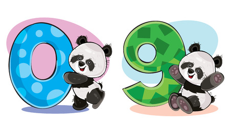 Set of cute baby panda bears with numbers vector cartoon illustration. Clip-art for greeting card for kids birthday, invitation, template for t-shirt print. Fun math, counting, numerals - 0, 9.