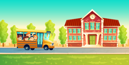 Vector cartoon colorful background with cheerful smiling kids, happy pupils, riding on yellow bus. Back to school concept illustration. Poster with group of boys and girls go on excursion or trip Ilustração