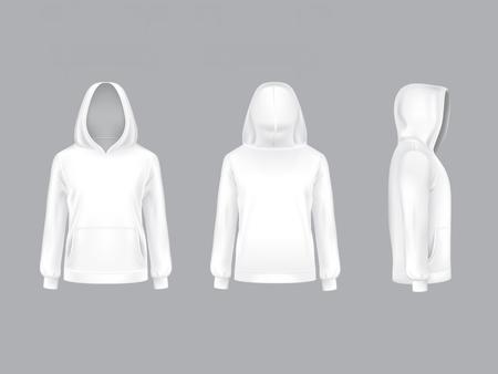 Vector 3d realistische witte hoodie met lange mouwen en zakken. Casual unisex-model, sportkleding, sweater met capuchon. Geïsoleerd op de achtergrond. Mock-up voor kledingontwerp, voor-, achter- en zijaanzicht.