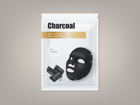 Vector cosmetic banner with 3d realistic package for charcoal anti-blackhead facial mask, isolated on background. Skincare, premium beauty product for face treatment. Mockup for packaging design